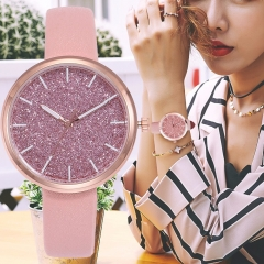 Fashion Women Romantic Starry Sky Wrist Watch Casual Rose Gold Steel Mesh Belt Rhinestone Watch pink + leather belt