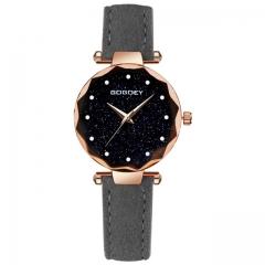 Luxury Women Watches Personality Romantic Starry Sky Wrist Watch Rhinestone Design Ladies Clock grey