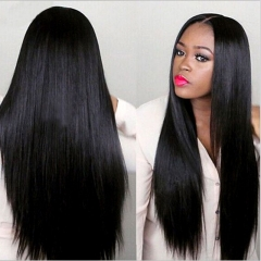 Girl Glueless Lace Long Hair Wigs For Women Black Pre Plucked Brazilian Straight Lace Wig Baby Hair black long curled hair