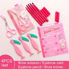 4pcs Eyebrows Pencil Makeup Set Eyebrow razor/stencil/Enhancer/Shaving Carding Eye Cosmetic Tools black Eyebrow pencil set