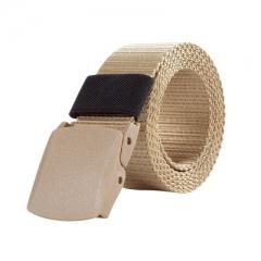 Outdoor casual belt nylon canvas woven belt YKK plastic buckle hypoallergenic training leather