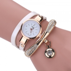 Women  Fashion Casual Bracelet Watch Women Relogio Leather Rhinestone Analog Quartz Womens Watch white