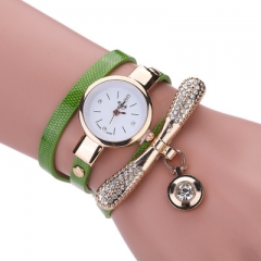 Women  Fashion Casual Bracelet Watch Women Relogio Leather Rhinestone Analog Quartz Womens Watch green