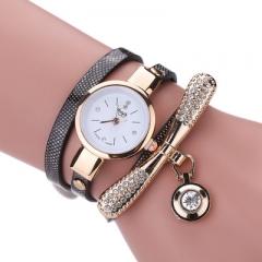 Women  Fashion Casual Bracelet Watch Women Relogio Leather Rhinestone Analog Quartz Womens Watch black