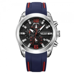 Men's Analog Quartz Watch with Date Luminous Hands Waterproof Silicone Rubber Strap Men's Watch Black face blue belt