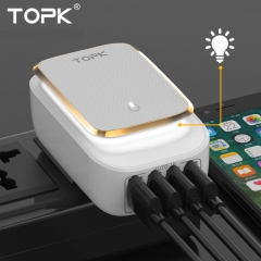 4-Port 4.4A(Max) 22W EU USB Charger Adapter LED Lamp Auto-ID Portable Phone Travel Wall Charger 1 EU