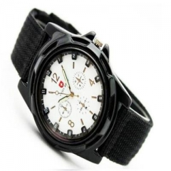 Fashion Swiss braided military watch Gemius Swiss sea, land and air army army sports watch Black belt with white flour