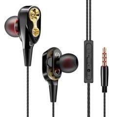 Double Unit Drive In Ear Earphone Bass Subwoofer Earphone for phone DJ mp3 Sport Earphones  Earbud black