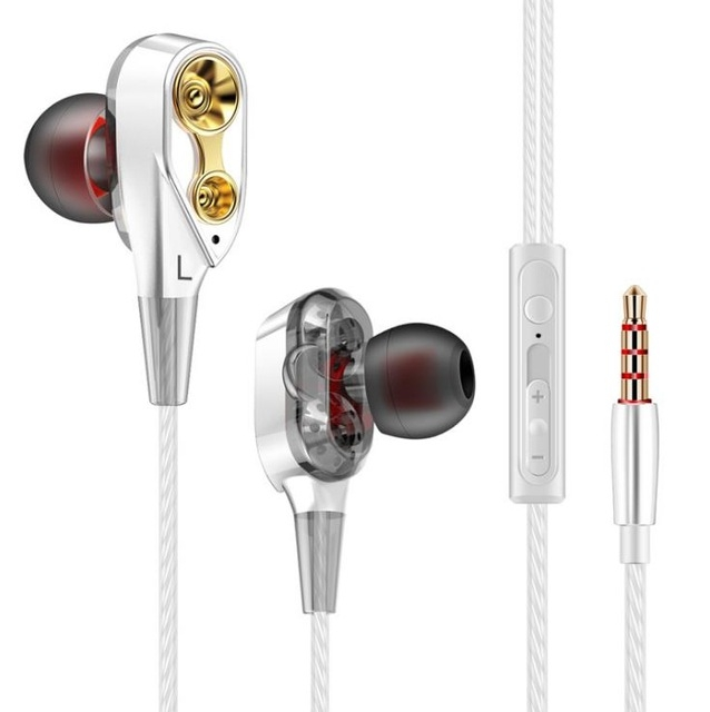Double Unit Drive In Ear Earphone Bass Subwoofer Earphone for phone DJ mp3 Sport Earphones  Earbud white