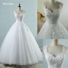 ZJ9076 Ball Gowns Spaghetti Straps White Ivory Tulle Wedding Dresses  Pearls Bridal Dress Marriage white 2