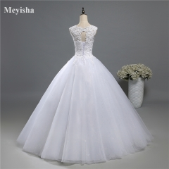 ZJ9139 Ball Gown Real Images Lace Tulle Wedding Dress  Bridal Dresses Plus Size Bridal Dresses white 2