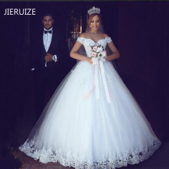 JIERUIZE  Lace Appliques Ball Gown Cheap Wedding Dresses Off The Shoulder  Sleeves Bridal Dresses white 2