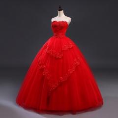 Fansmile Red Vintage Lace Up Wedding Dresses Vestidos de Novia 2017 Plus Size Bridal Gowns red 2
