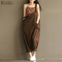 2018 summer and autumn jumpsuit sleeveless backless casual loose overalls without shoulder strap Brown s