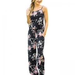 Tissarlg Women Summer Jumpsuits Full Length Casual Print black 3xl