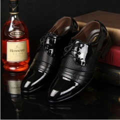 Hollow Outs Breathable Men Formal Shoes Pointed Toe Patent Leather Oxford Shoes black 10