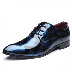Oxford shoes men's dress shoes men's dress shoes narrow toe business wedding dress blue 5.5