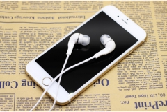 With wheat line control in-ear mobile phone headset microphone headset white