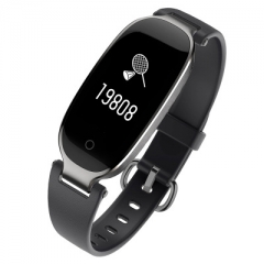 Soprt S3  Women Smart Bracelet Band Bluetooth Heart Rate Monitor Fitness Tracker Smartwatch black