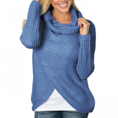 Women sweater knitted Long Sleeve o neck Solid girl Sweater Pullover Tops Blouse Shirt pullovers blue s