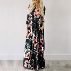 2018  Long Dress Floral Print Boho Beach Dress Tunic Maxi Dress Women Evening Party Dress Sundress black S