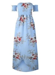 long dress women Off shoulder beach summer dresses Floral print Vintage chiffon white maxi dress blue s
