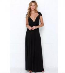 Sexy Women Multiway Wrap Convertible Boho Maxi Club Red Dress Bandage Long Dress Party Bridesmaids black s