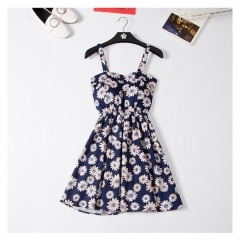 New Off shoulder ruffle Dot summer Dress women white strap chiffon beach Boho party sexy dresses blue1 s