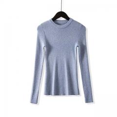 2018 winter sweater female long-sleeved pullover women's basic women's knitted shirt women's blue One Size