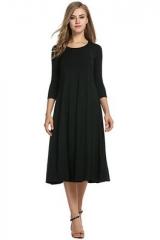 2018 Women Linen Vintage Dress Patchwork Casual Loose Boho Long Maxi Dresses black s