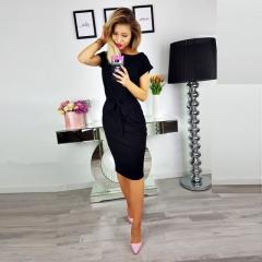 Summer Fashion Women Casual Short Sleeve O-Neck Straight Dress Loose Pocket Cotton Midi Dress black s