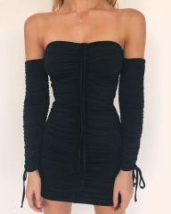 Autumn and winter bandage dress women's sexy strapless long-sleeved slim stretch tight dress black s