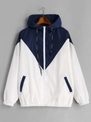 Spring Autumn Fashion Hooded Two Tone Windbreaker Jacket Zipper Pockets Casual Long Sleeves blue s