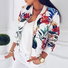 Ribbed Trim Flower Print Women's Autumn Print Long Sleeve Casual Top Zip Jacket Loose Top white s