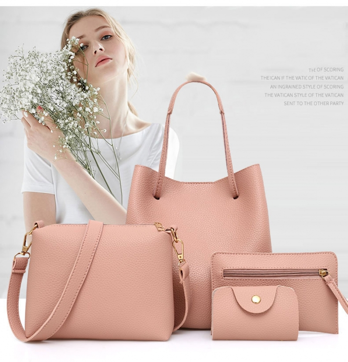 4Pcs Women Pattern Leather Handbag Crossbody Bag Messenger Bag Card Package Capacity Crossbody Bag pink 1