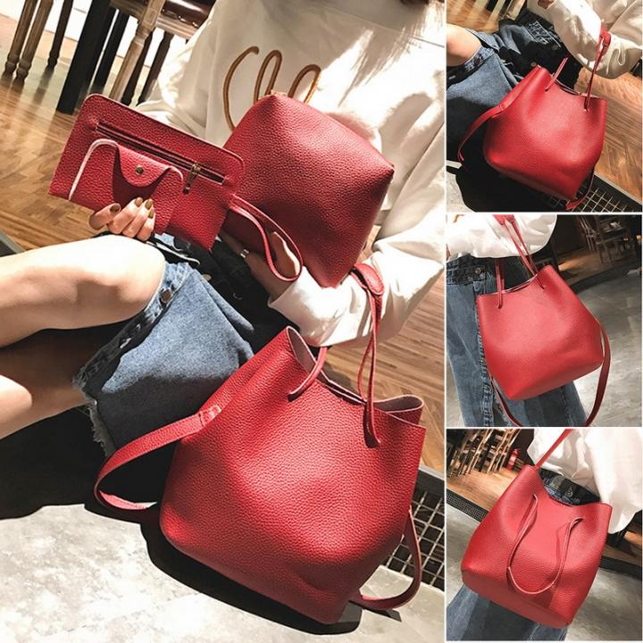 4Pcs Women Pattern Leather Handbag Crossbody Bag Messenger Bag Card Package Capacity Crossbody Bag red 1