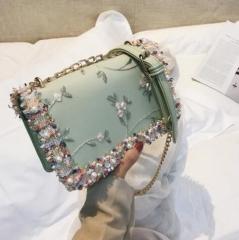 2018 New handbag High quality PU Leather Sweet Girl Square bag Flower Pearl Chain green One
