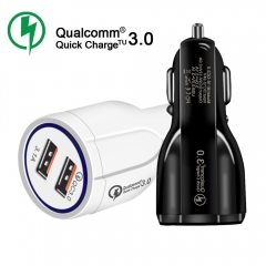QC3.0 Fast Charger Dual USB 5V3.1A Vehicle Charger white 1