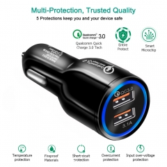 QC3.0 Fast Charger Dual USB 5V3.1A Vehicle Charger black 1