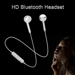 High Quality S6 Sports Wireless Bluetooth Earphones Headset Earpiece Headphones With Mic For iPhone white one