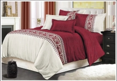 Bedding Simple Plain Quilt Cover and Pillow Cover 3 Kits Wine red 228-240