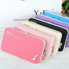 Women's Wallet Long Handbag Student's Zero Wallet Korean Mobile Bag black one