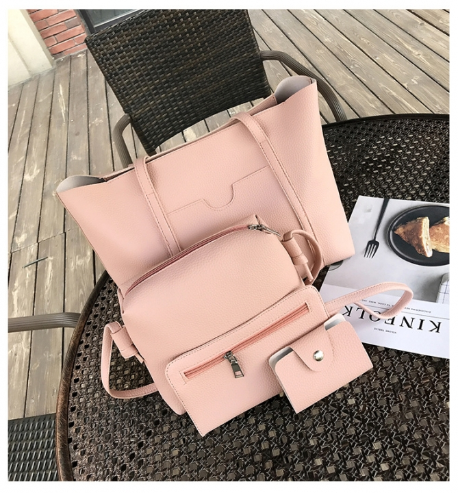 PU Women's Bag Four-piece Set Mother's Bag Bucket Female Handbag pink 1