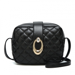 2019 New Korean Style Female Ling Ge Embroidery Bag Tide Slanting Single Shoulder Bag black 1