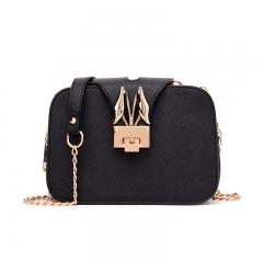 Summer 2019 New Women's Bag Fashion Clip Bag Rabbit Ear Square Bag black 1
