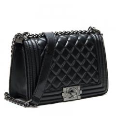 Fashionable rhombus temperament single shoulder inclined handbag lady bag black Big