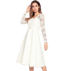European and American fashion bow V-neck hollow lace stitching dress white S
