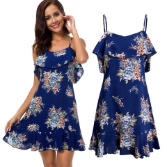 Women's Short Skirt Explosive Lotus Leaf Edge Pendant Printed Dress blue s