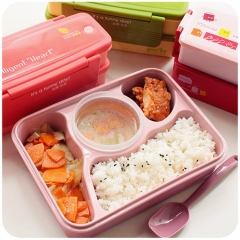 Student compartment plastic lunch box lunch box set plate children cartoon can microwave lunch box Pink 4 + soup bowl