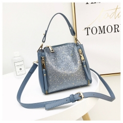 Fashionable and Simple Barrel-type Women's Bag with Sequins New Portable Double Zipper Handbag blue 1